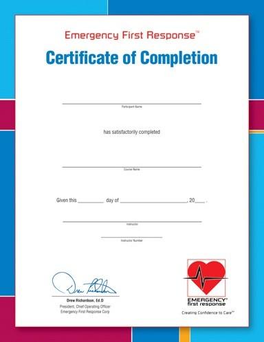 PADI Certificate - EFR Participant (Russian)
