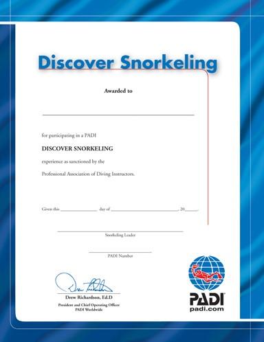 PADI Certificaat - Discover Snorkelling