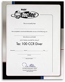 PADI Certificaat - Tec 100 CCR Diver Voor Aan De Muur