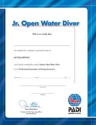PADI Certificate - Junior O/W