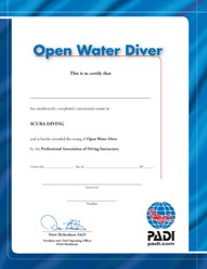 PADI Certificate - O/W Diver (Portuguese)