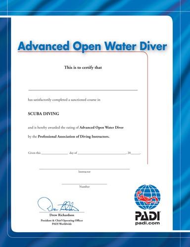 PADI Certificate - Advanced Open Water Diver (Portuguese)