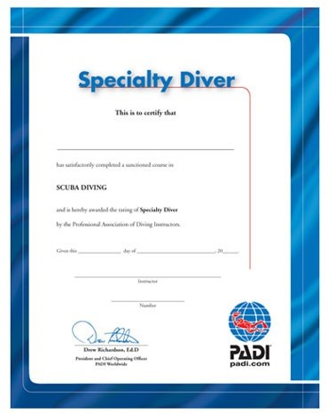 PADI Certificaat - Specialty Diver