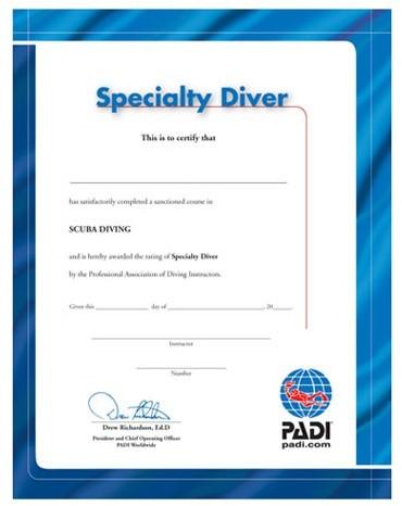 PADI Certificate - Specialty Diver (Russian)