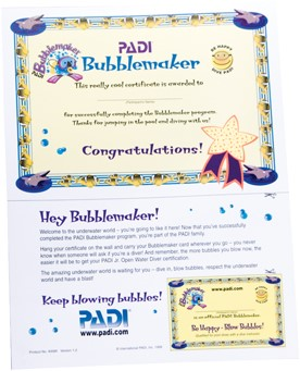 PADI Certificaat - Bubblemaker With Participant Card