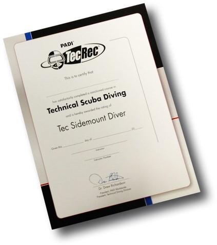 PADI Certificaat - Tec Sidemount Diver Voor Aan De Muur