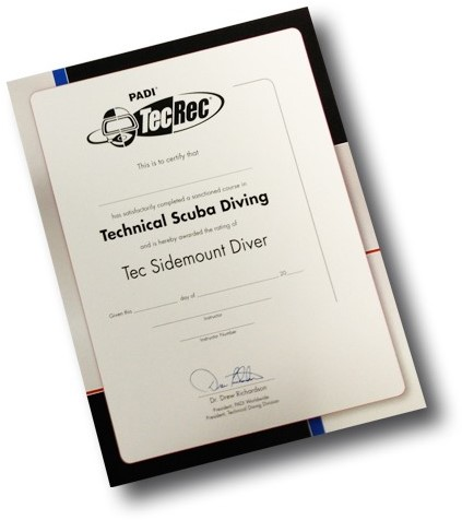 PADI Certificate - Tec Sidemount Diver, Wall
