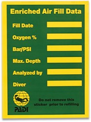 PADI Cylinder Decal - Enriched Air Tank Contents