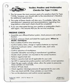 PADI Slate - Tec CCR, Type T Predive Check