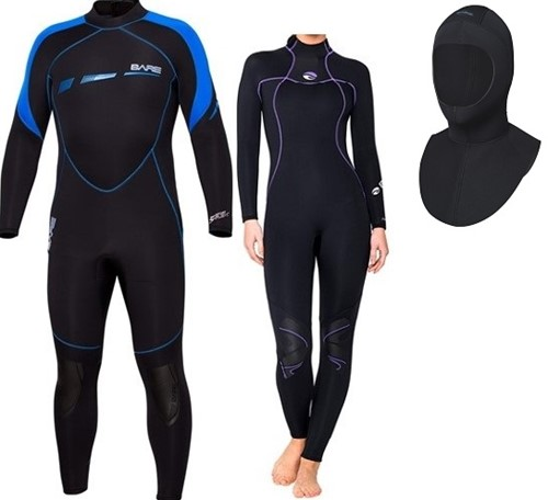 Bare 7mm Sport S-Flex/Nixie wetsuit with hood