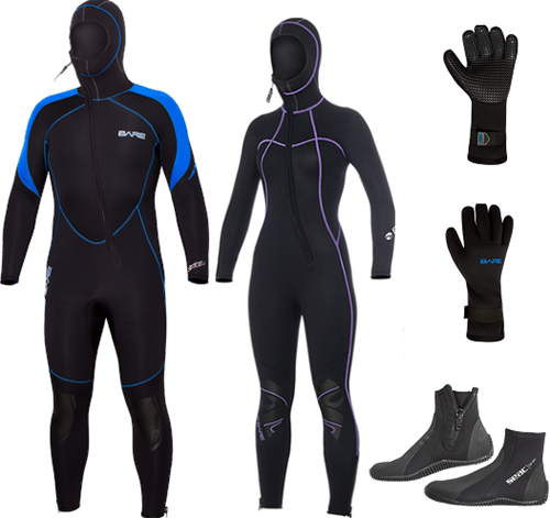 Bare 7mm Sport S-flex Nixie Hooded wetsuit set