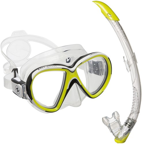 Aqualung snorkelset Reveal X2 TS Hot Lime + Zephyr Transparant/Hot Lime
