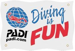 PADI Flag - Diving is Fun 125cm x 75cm