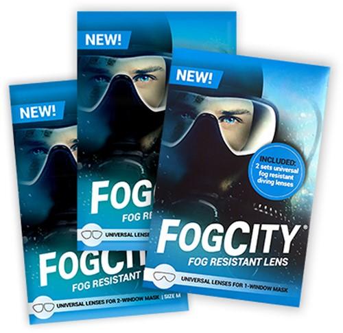FogCity fog resistant lens kit for 2-window mask size M