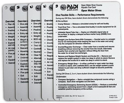 PADI Cue Cards - Open Water, Aquatic (German)
