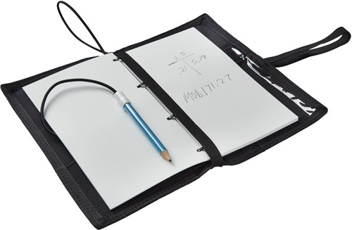 OMS Diver's Notebook including underwater paper, with table windows, pockets and pencil holders