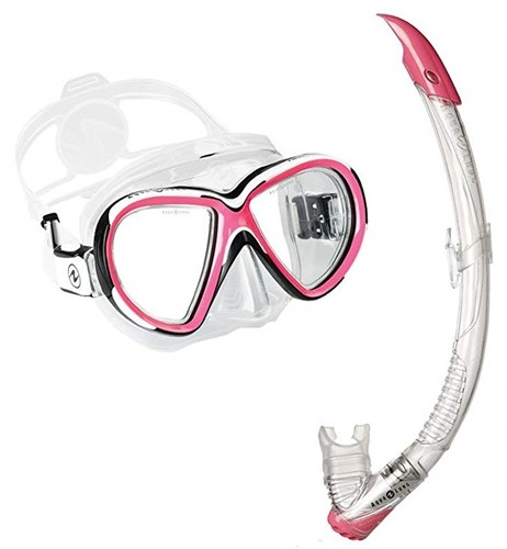 Aqualung snorkelset Reveal X2 TS White/Pink + Zephyr Transparant/Pink