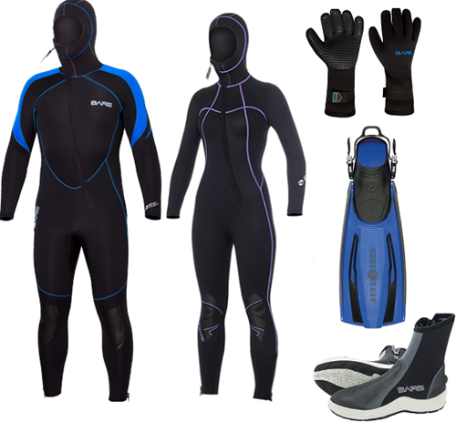 Bare 7mm Sport S-flex Nixie Hooded wetsuit set with fins