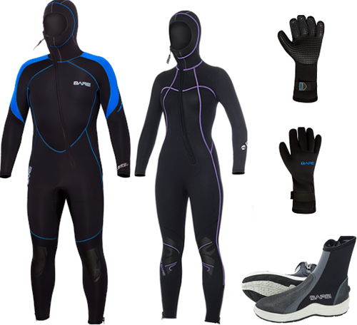 Bare 7mm Sport S-flex Nixie Hooded wetsuit set