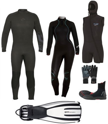 Bare Velocity Nixie Ultra wetsuit set with fins