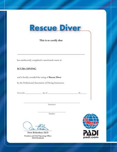 PADI Certificate - Rescue Diver (Russian)