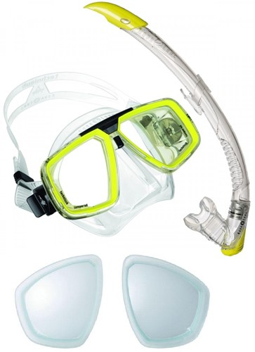 Aqualung Look + Zephyr snorkelling set with minus Optical Lenses
