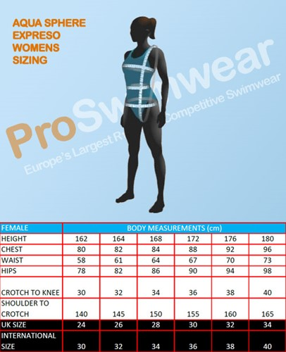 Maattabek Aquasphere zwempak vrouw