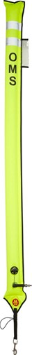 OMS Emergency Yellow Slim Big Diver Alert Marker (1.80 Meter) No-Lock Inflator Nippel Met Ontluchtingsventiel (12kg Liftvermogen)