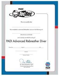 PADI Certificate - PADI Advanced Rebreather Diver