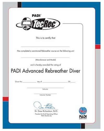 PADI Certificate - PADI Advanced Rebreather Diver (Russian)