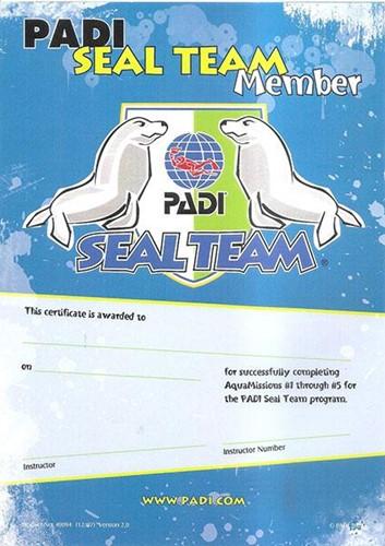 PADI Certificaat - PADI Seal Team