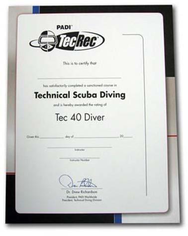 PADI Certificaat - Tec 40 Diver Voor Aan De Muur
