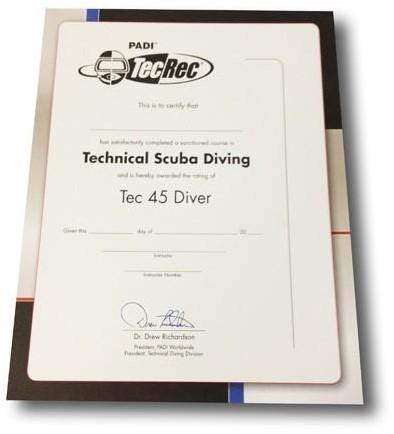 PADI Certificaat - Tec 45 Diver Voor Aan De Muur