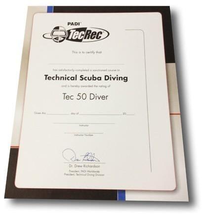 PADI Certificaat - Tec 50 Diver Voor Aan De Muur