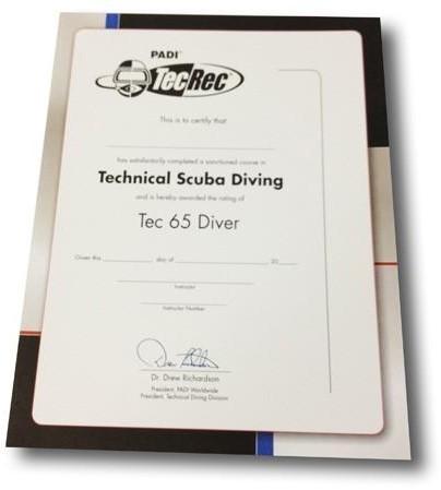 PADI Certificaat - Tec 65 Diver Voor Aan De Muur
