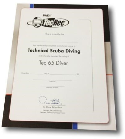 PADI Certificate - Tec 65 Diver, Wall (Russian)