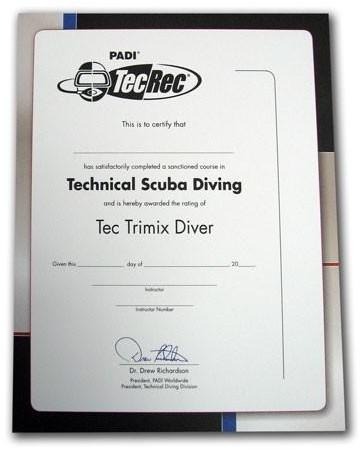 PADI Certificaat - Tec Trimix Diver Voor Aan De Muur