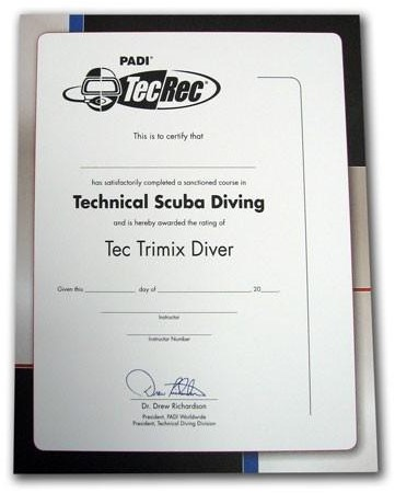 PADI Certificate - Tec Trimix Diver , Wall