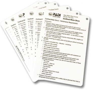 PADI Cue Cards - Confined Water, Aquatic (French)