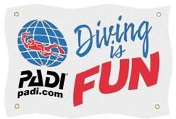 PADI Flag - Diving is Fun, Large, 100cm x 250cm