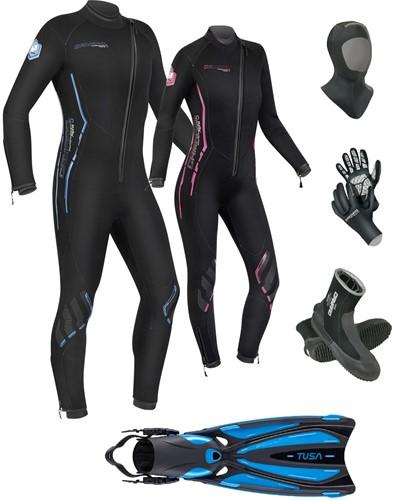 Camaro 5mm Alpha wetsuit set with fins
