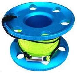 Vingerreel alu 30 meter blauw