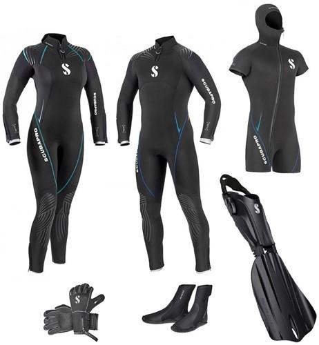 Scubapro 7mm Definition wetsuit set with fins