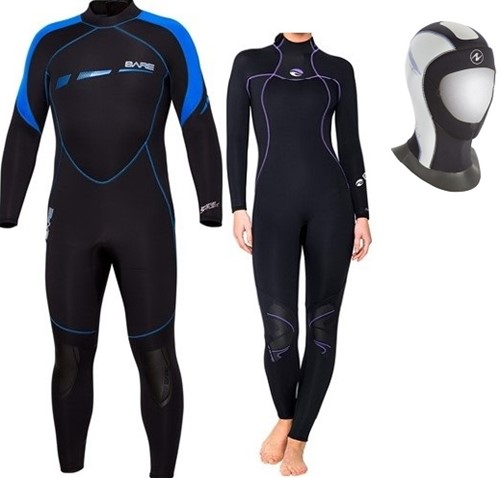 Bare 7mm Sport S-Flex/Nixie wetsuit with Bali hood