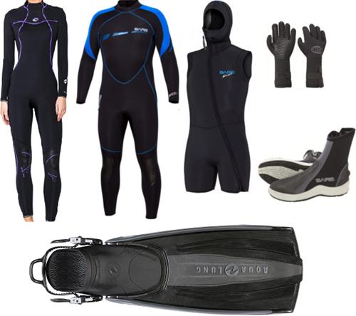 Bare 7mm Sport S-Flex/Nixie wetsuit set with fins
