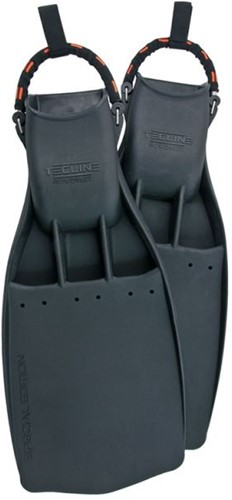Tecline Rubber Fins PowerJet,  with SS spring straps (45/47) XL - hard