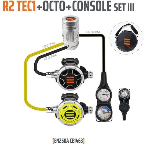 Tecline R2 / Tec1 Automatenset III (Met Manometer, Dieptemeter en Kompas)