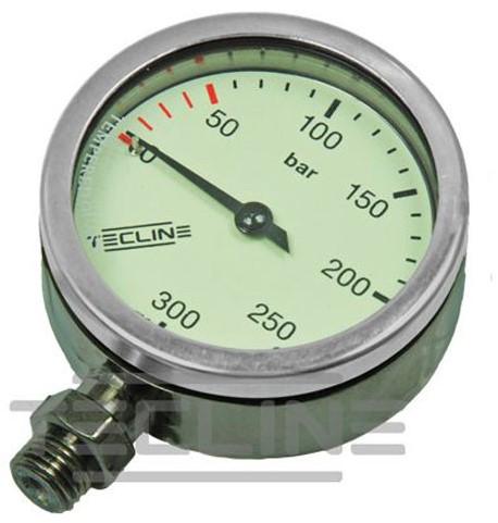 Tecline SPG diam 52 mm O2, scale 300 bar, working pressure 230 bar, chrome - head only