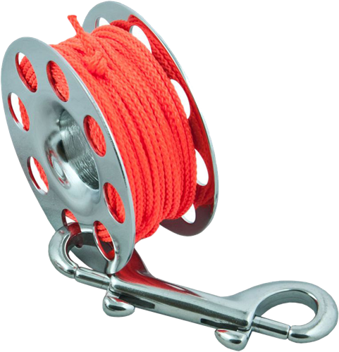 Tecline Spool SS 15 m, with SS 100 mm snap