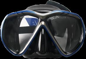 TecLine Tiara mask w/neoprene strap, blk silicone, blue frame